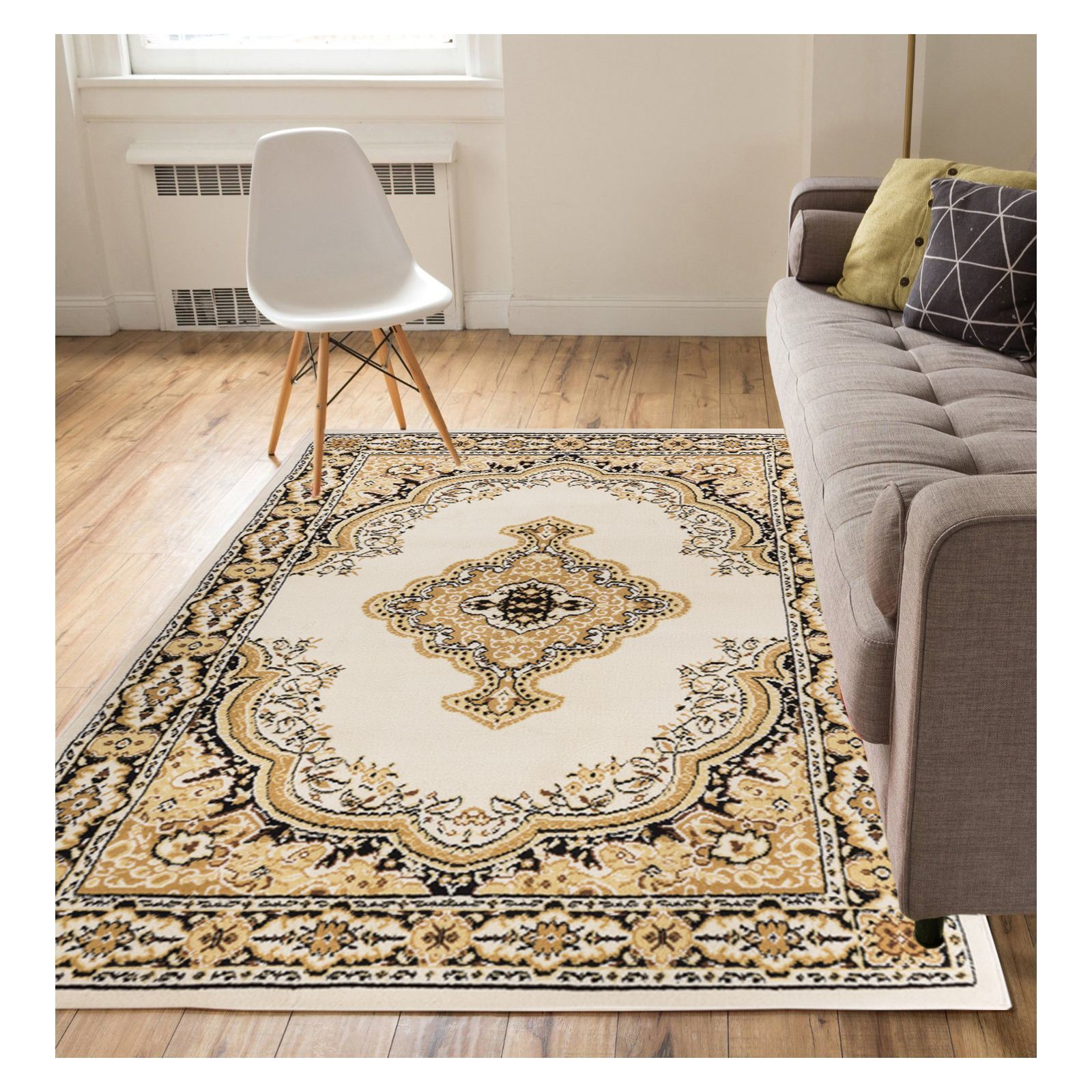 Well Woven Eastgate Traditional Medallion Ivory Area Rug - 311 x 53 (Ivory)