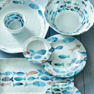 TAG Fish Melamine Dinner Plate Set of 4 & Melamine Dinnerware For Less | Overstock.com