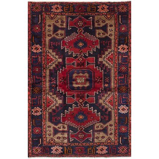 Ecarpetgallery Hand-Knotted Nahavand Blue, Red Wool Rug (4'3 x 6'8)