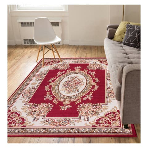 """Well Woven Eastgate Traditional French Country Aubusson Red Area Rug - 3'11"""" x 5'3"""""""
