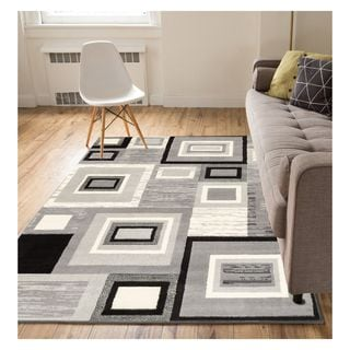 Eastgate Geometric Modern Squares Grey Area Rug (3'3 x 5')