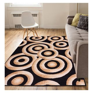 Eastgate Modern Rings And Circles  Black Area Rug (3'3 x 5')