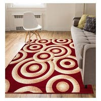"Eastgate Modern Rings And Circles Red Beige Area Rug - 3'11"" x 5'3"""