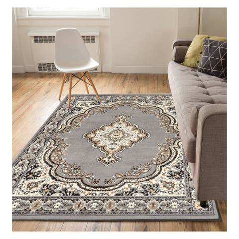 """Well Woven Eastgate Traditional Medallion Grey Area Rug - 3'11"""" x 5'3"""""""