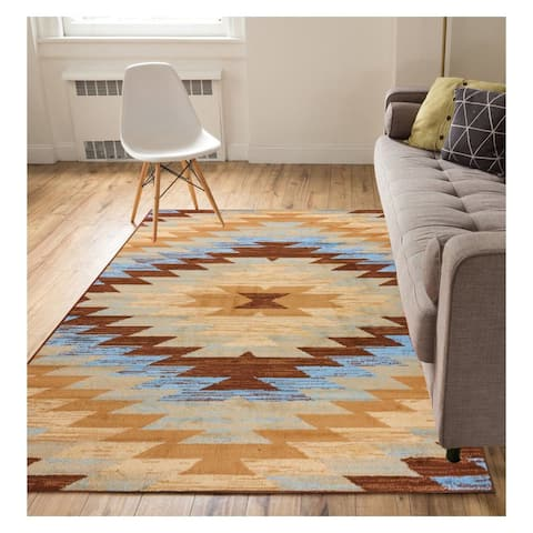 """Well Woven Eastgate Traditional Southwestern Blue Area Rug - 3'11"""" x 5'3"""""""