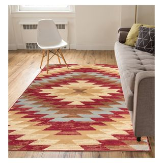 Eastgate Traditional Southwestern Red Area Rug (3'3 x 5') (Option: Red)