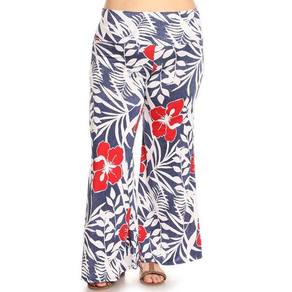 3db40066fdb Shop Women s Plus Size Tropical Floral Pattern Pants - On Sale ...