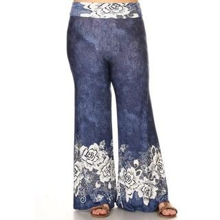Women's Plus Size Mixed Floral Lace Pattern Pants