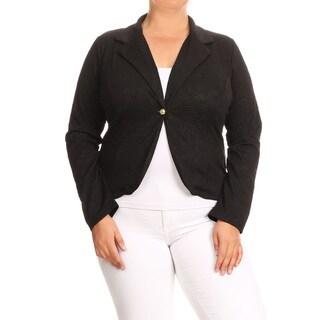 Women's Plus Size Black Jacquard Blazer Style Jacket