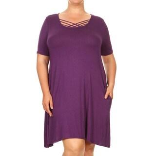 Women's Plus Size Purple Dress with Crisscross Back
