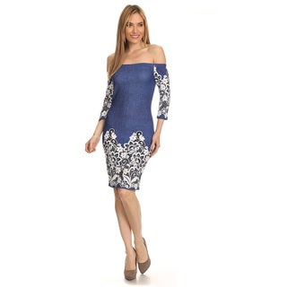 Women's Denim Bodycon Crochet Lace Dress
