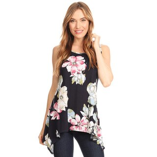 Women's Navy Multi Floral Pattern Sleeveless Top