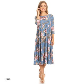Women's Floral Pattern Paneled Detail Dress