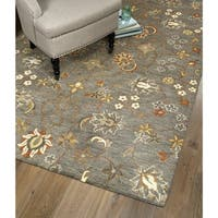 Hand-Tufted Christopher Tabriz Pewter Green Wool Rug (5' x 7'9)