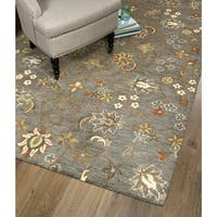 Hand-Tufted Christopher Tabriz Pewter Green Wool Rug - 9' x 12'