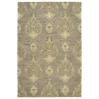 """Hand-Tufted Felicity Kashan Taupe Wool Rug (7'6 x 9'0) - 7'6"""" x 9'"""