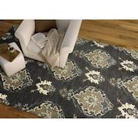 Hand-Tufted Felicity Kashan Charcoal Wool Rug - 5' x 7'6