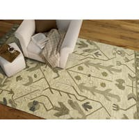 """Hand-Tufted Felicity Majestic Olive Wool Rug - 7'6"""" x 9'"""