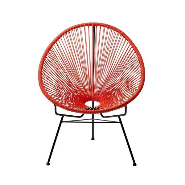 Shop Acapulco Patio Woven Cord Chair Red Free Shipping