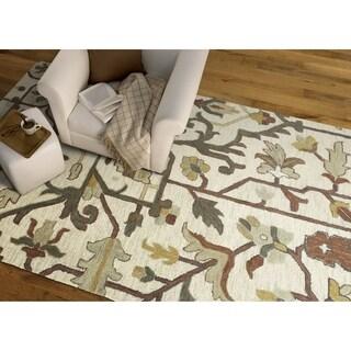 Hand-Tufted Felicity Heriz Mushroom Wool Rug (8'0 x 11'0) - 8' x 11'
