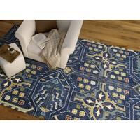 Hand-Tufted Felicity Boho Navy Wool Rug (5' x 7'6)