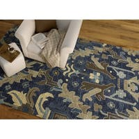 Hand-Tufted Felicity Craftsman Navy Wool Rug - 7'6 x 9'
