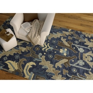 Hand-Tufted Felicity Craftsman Navy Wool Rug - 5' x 7'6""