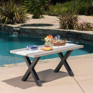Goleta Outdoor Rectangle Light-weight Concrete Dining Table by Christopher Knight Home