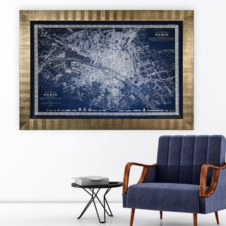 Vintage Paris Map Outline Blue -Antique Gold Frame