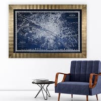 Vintage Paris Map Outline Blue -Antique Gold Frame