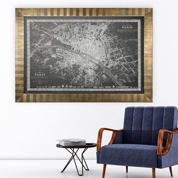 Vintage Paris Map Outline Grey -Antique Gold Frame