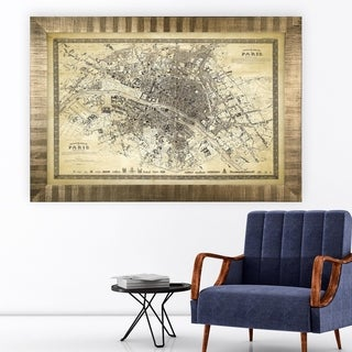 Vintage Paris Map Outline II -Antique Gold Frame