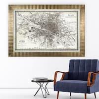 Vintage Paris Map Outline -Antique Gold Frame