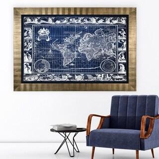 Vintage Wold Map VIIII Blue -Antique Gold Frame