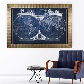 Vintage Wold Map VIII Blue -Antique Gold Frame