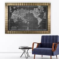 Vintage Wold Map VI Grey -Antique Gold Frame