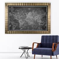 Vintage Wold Map V Grey -Antique Gold Frame