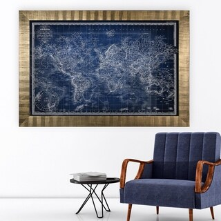 Vintage Wold Map v Blue -Antique Gold Frame