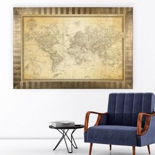 Vintage Wold Map v Parchment -Antique Gold Frame