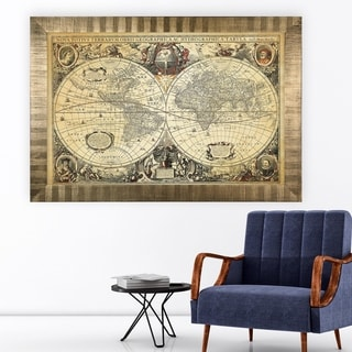 Parchment Treasue Map -Antique Gold Frame