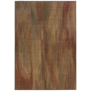 Style Haven Faded Impressions Abstract Brown/Gold Area Rug (5'3 x 7'6)