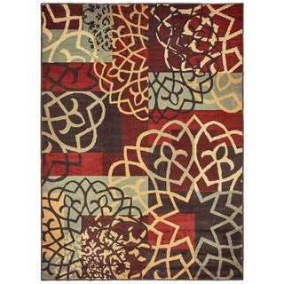 Style Haven Floral Imprints Red/Multicolor Area Rug (5'3 x 7'3)