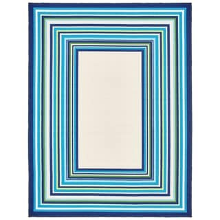 Style Haven Ivory/Blue Indoor and Outdoor Borders Rug (7'10 x 10')
