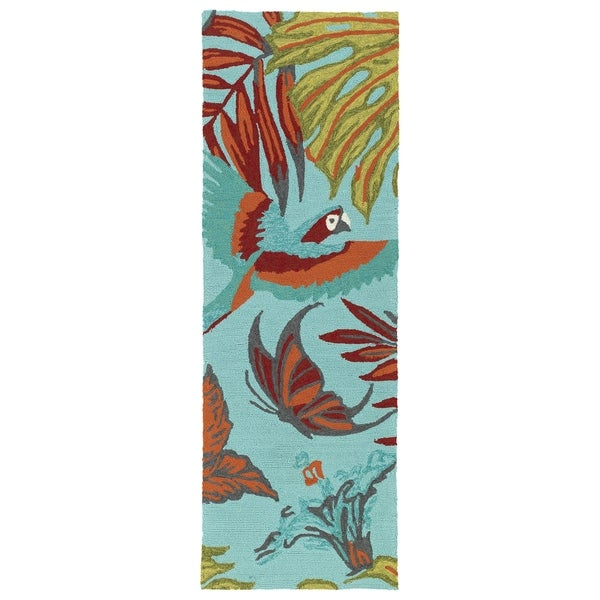 Handmade Topsail Blue Paradise Polypropylene Rug (2' x 6')