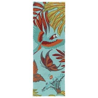 Handmade Topsail Blue Paradise Polypropylene Rug (2'0 x 6'0) - 2' x 6'