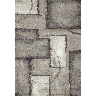 Style Haven Patchwork Blocks Grey and Black Area Rug (5'x7')