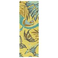 Handmade Topsail Yellow Paradise Polypropylene Rug (2' x 6')