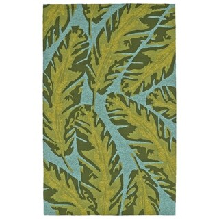 Handmade Topsail Blue Palm Polypropylene Indoor/Outdoor Rug (8'0 x 10'0)