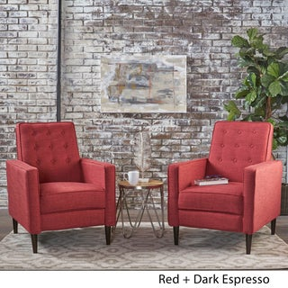 Mervynn Mid-Century Fabric Recliner Club Chair (Set of 2) by Christopher Knight Home (Option: Red)