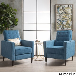 Mervynn Mid-Century Fabric Recliner Club Chairs (Set of 2) by Christopher Knight Home (Option: Muted Blue)